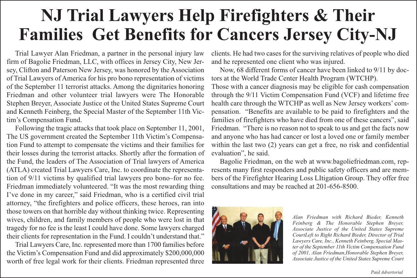 NJ Trial Lawyers, Bagolie Friedman, Help Firefighters